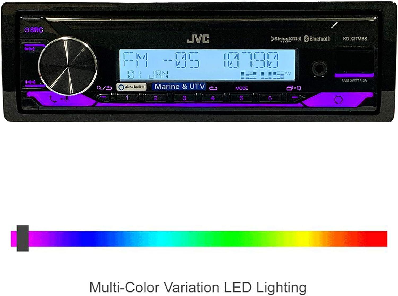 JVC KD-X35MBS Marine Single DIN AM//FM Bluetooth SiriusXM Receiver Black Single DIN Radio Cover Marine Antenna KDX35MBS-EMCBK1-EKMR3