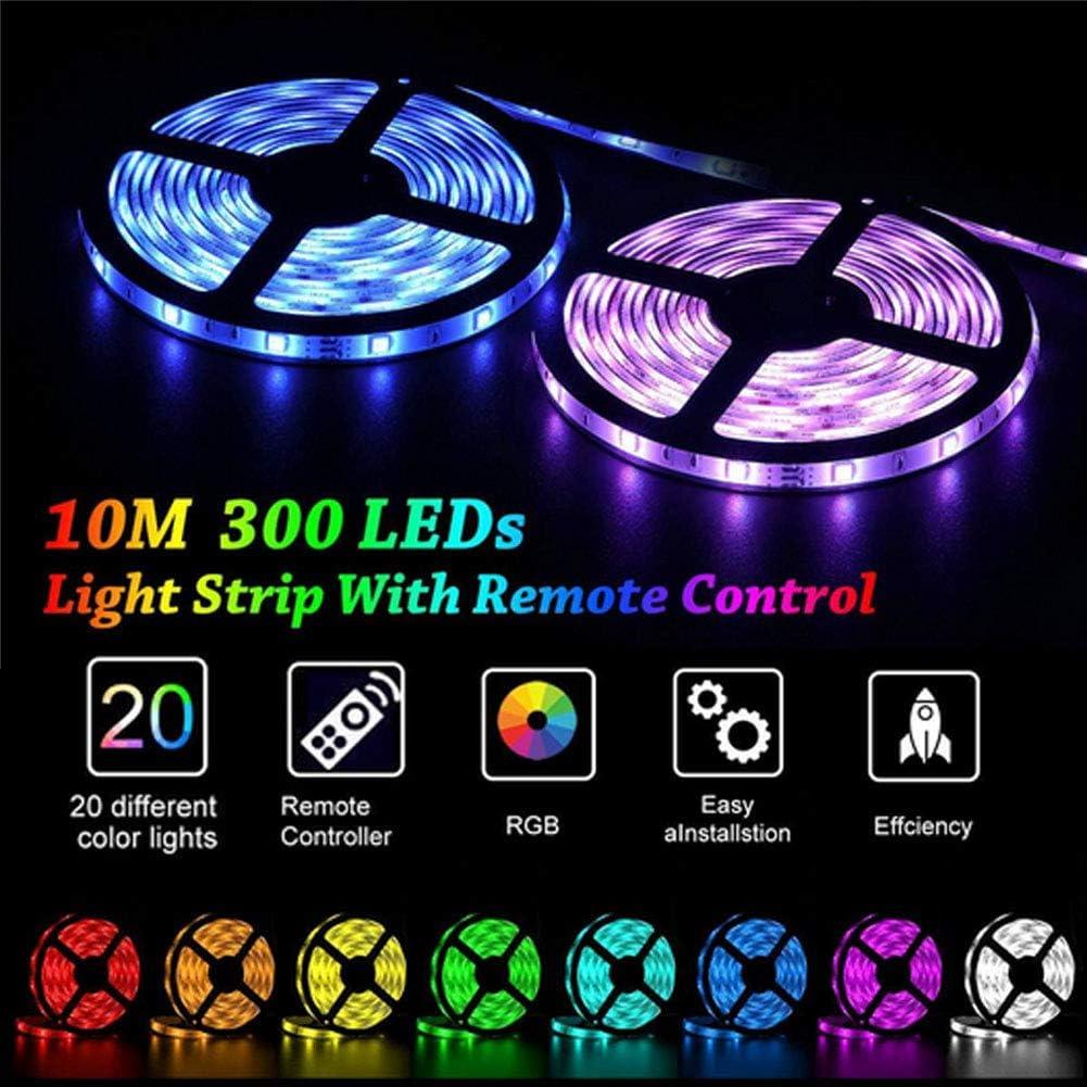LED Strip Lights Kit 32.8ft //10M 300LEDs SMD 5050 RGB 12V 5A Power Supply Rope Lights IP65 Waterproof Flexible Tape Light Kit with Sensitive Reaction 44Key Remote Controller /&Strengthen 2.5M Tape