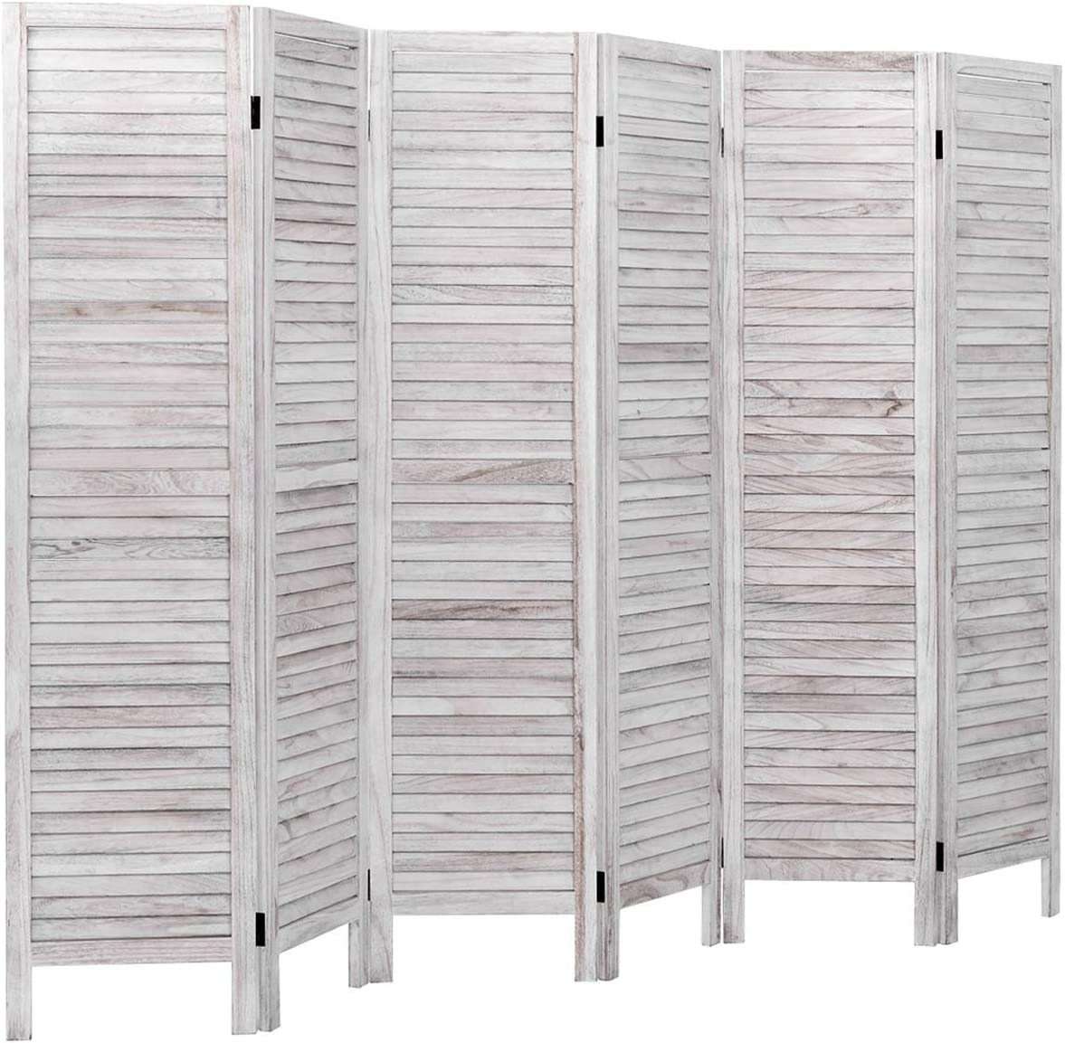 Giantex 6 Panel Wood Room Divider, 5.6 Ft Tall Oriental Folding Freestanding Partition Privicy Room Dividers Screen for Home, Office, Restaurant, Bedroom (White) -
