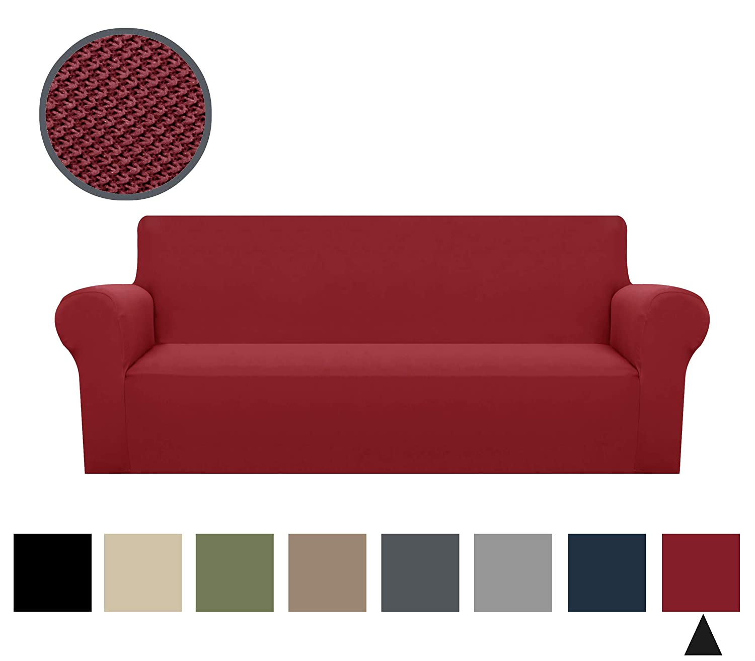 Binztec 1-Pieces Sofa Cover Sofa Slipcover Stay in Place Super Rich Furniture Cover/Protector, Skid Resistance (Burgundy, Sofa)