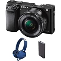 Sony Alpha ILCE-6000L 24.3MP Digital SLR Camera (Black) + 16-50mm Lens with MDR-XB550AP Headphones and Power Bank (CP-VB10)