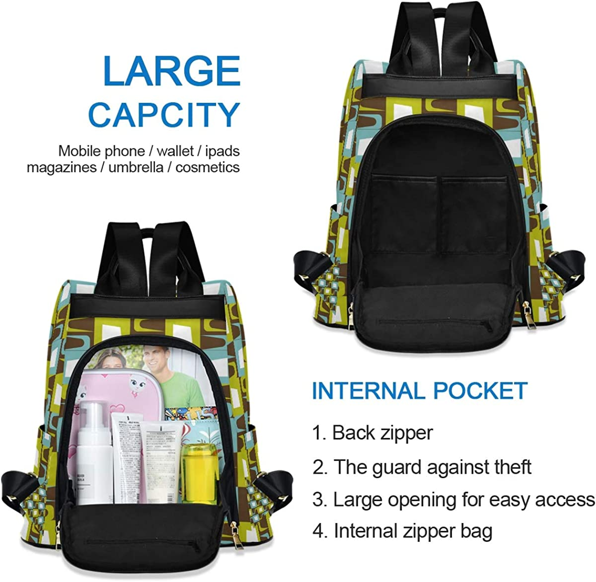 Irregular Rectangle Ornament Womens Computer Backpack College School Shoulders Bag Waterproof Travel 12.9 Inch Laptop Backpack with Grey Wool Ball Key Chain