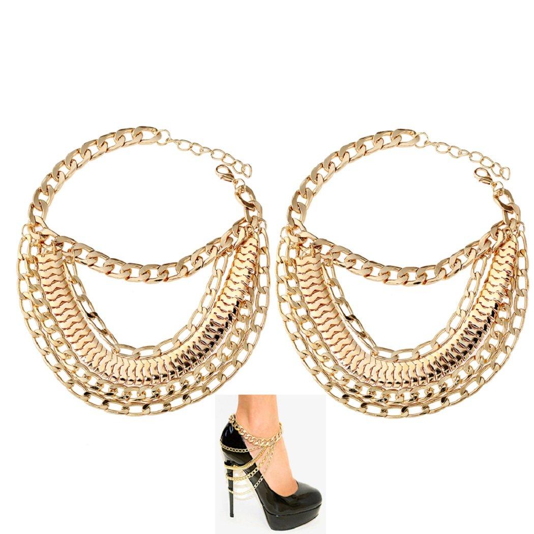 SUNSCSC Vintage Multi Chain Tassel Anklets Foot Jewelry Set of 2 pcs (Golden)