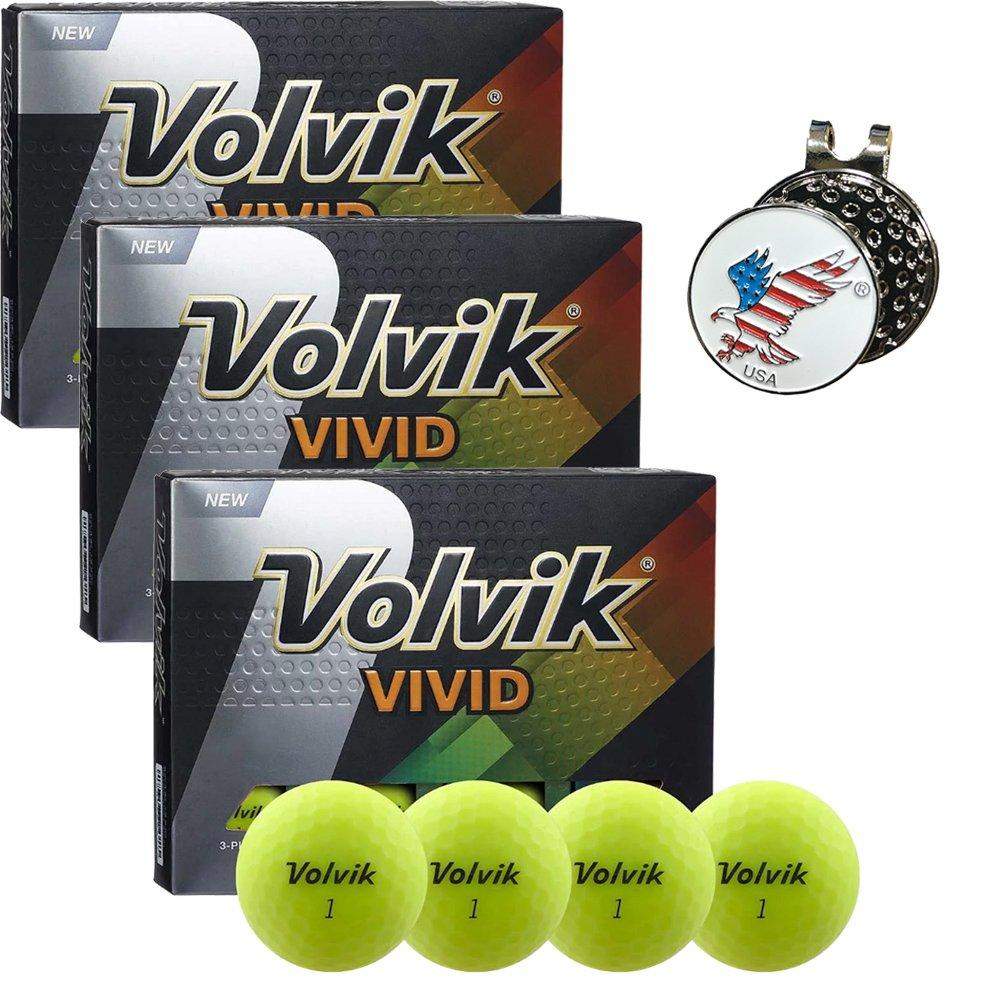 Volvik Vivid Golf Ball 3 Dozen Comes with 1 American Eagle Ball Marker Hat Clip Set