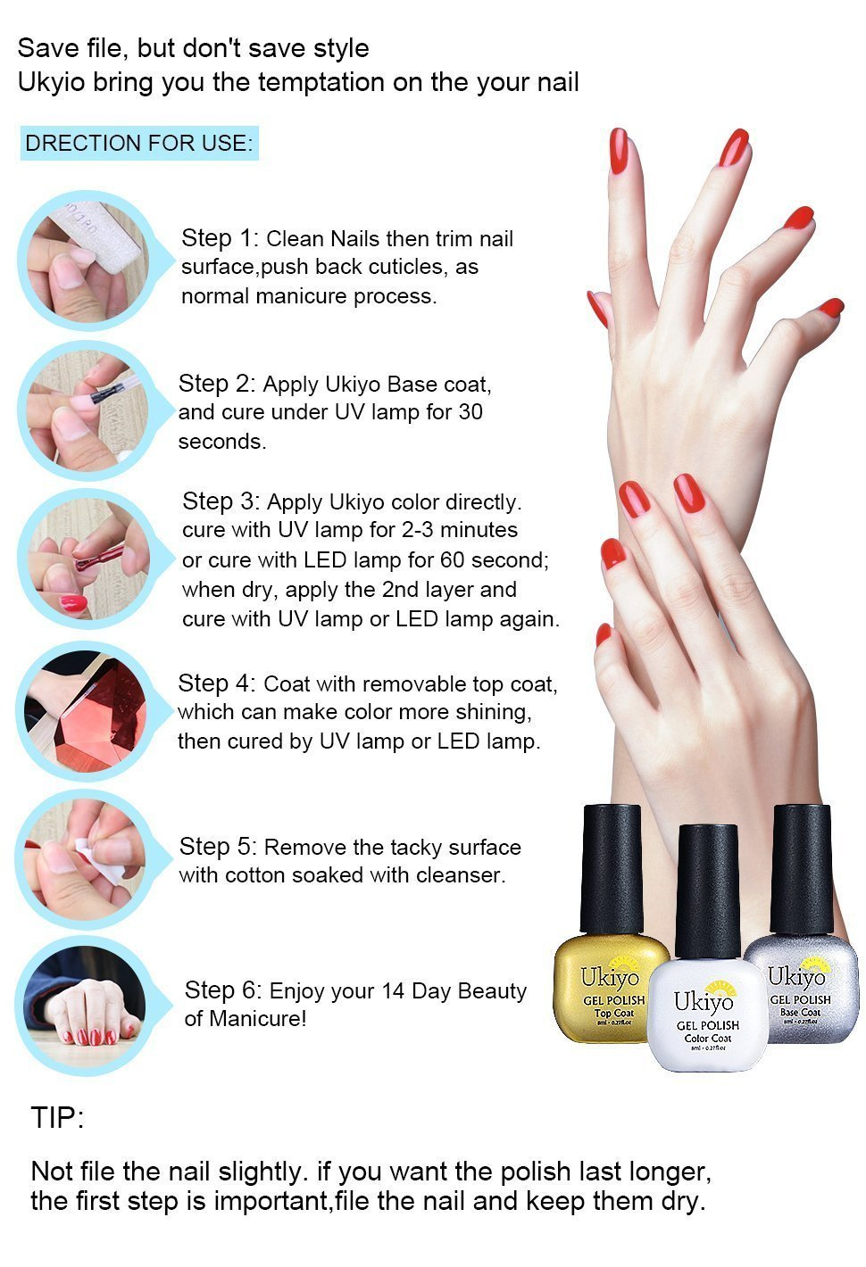 Amazon.com: Gel Nail Polish, Ukiyo Soak Off UV LED Gel Polish ...