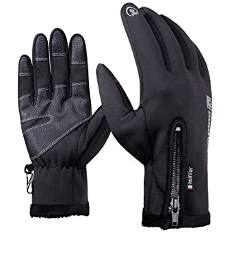 09d78a870a28c4 Winter Handschuhe Touchscreen Smartphone Warm Fleecefutter Wnddicht  Kältefest Anti-Rutsch Cycling für Herren Damen Gloves Schwarz S-XXL:  Amazon.de: ...