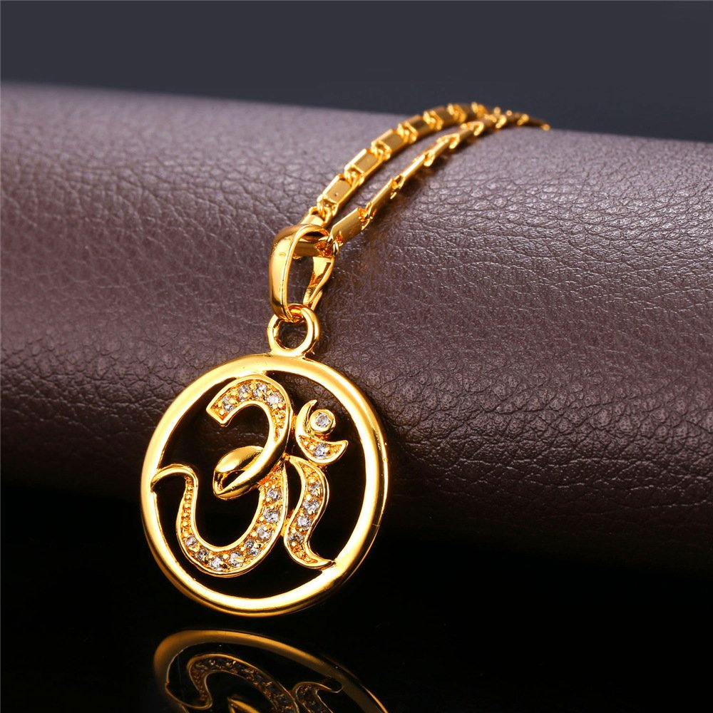 U7 Brand AUM OM Pendant Charm Necklace India Hinduism Jewelry 18K Gold Plated Amulet Necklace by U7 (Image #2)