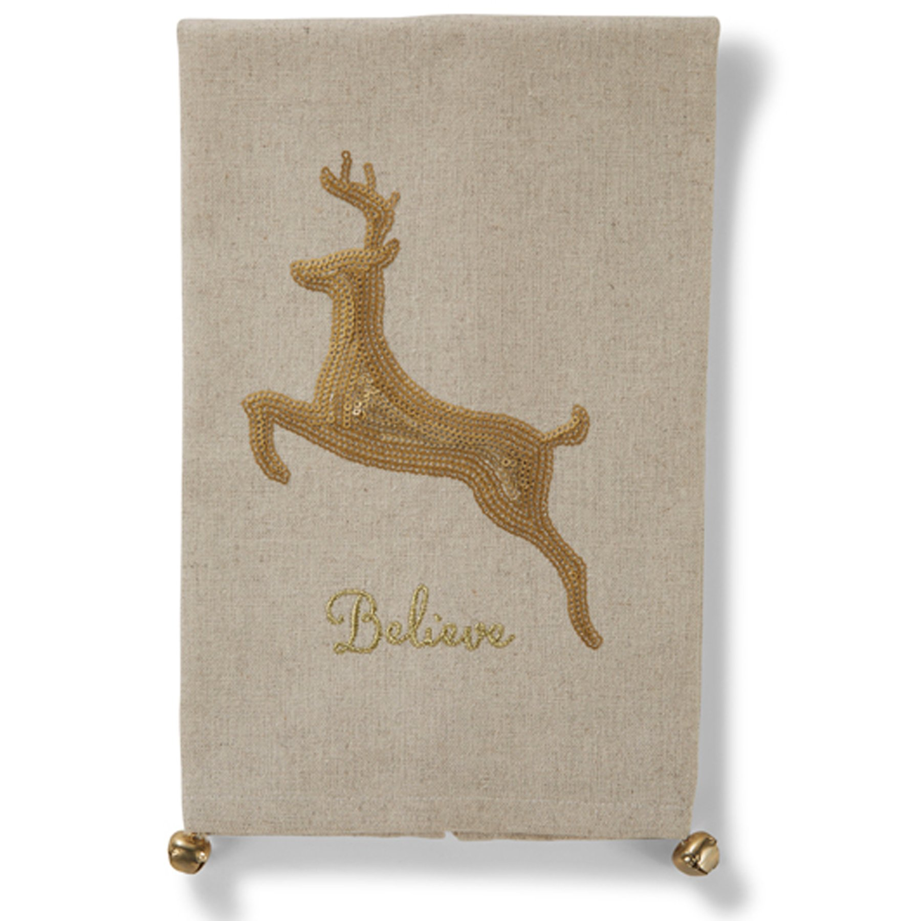 Mud Pie Glitter Holiday Christmas Jingle Bell Sequin Linen Towel (Reindeer)