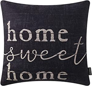 TRENDIN Farmhouse Pillow Covers 18 x 18 Inch with Black Home Sweet Home Quotes for Farmhouse Decoration Housewarming Gifts PL435TR