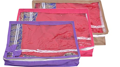 Yellow Weaves trade;Non Woven Saree Cover 3 Pcs Combo   Multi Color Clothes Covers