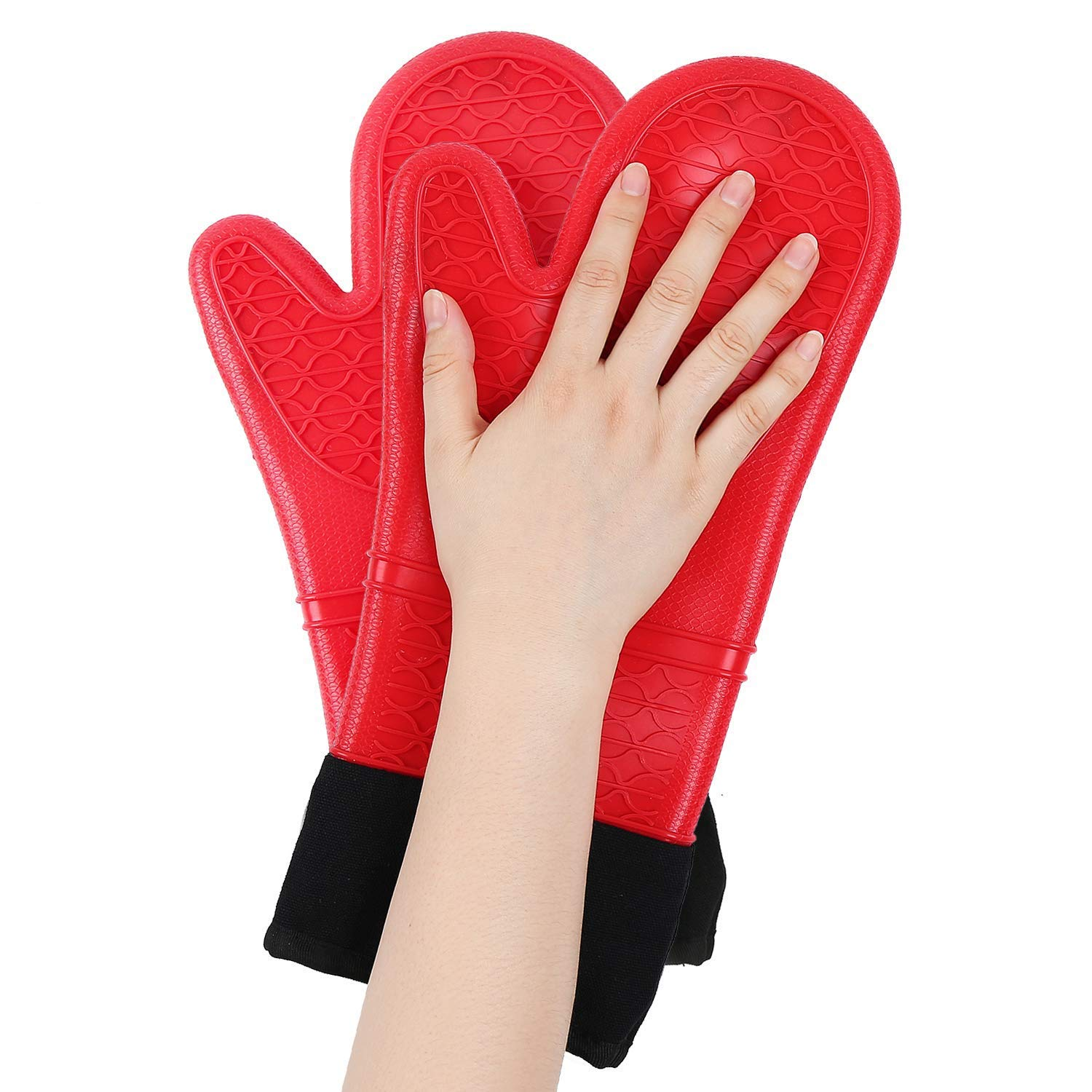 Home Extra Long Silicone Oven Mitt - Heat Resistant Professional Kitchen Oven Gloves with Quilted Liner & Non-Slip Textured, Machine Washable for Cooking, Baking Grilling, BBQ, Microwave 1 Pair