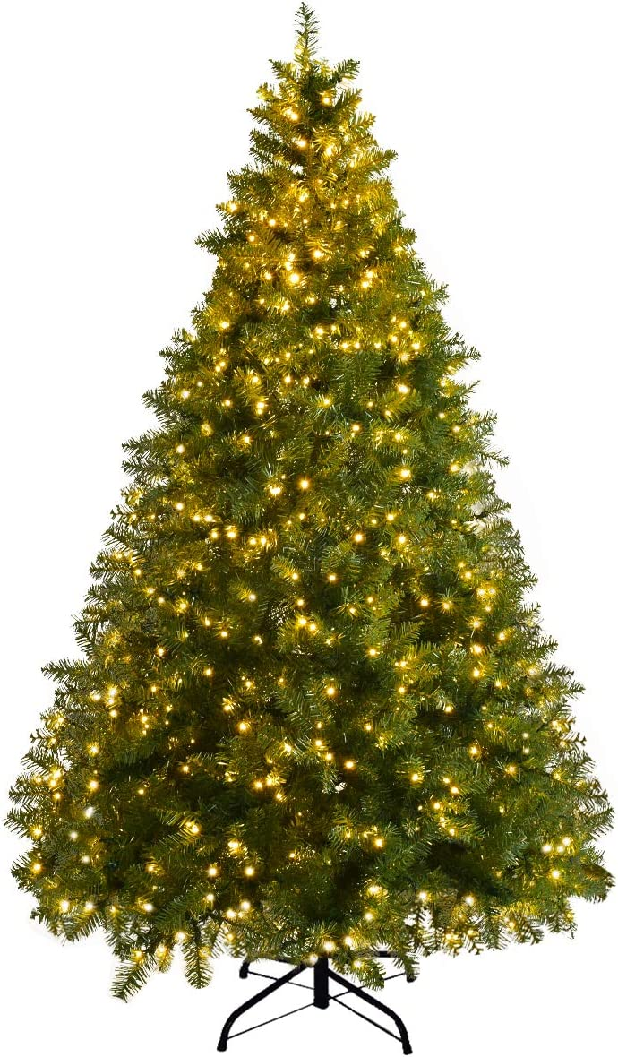 Goplus Pre-Lit Christmas Tree Artificial PVC Spruce Hinged with 560 LED Lights and Solid Metal Legs