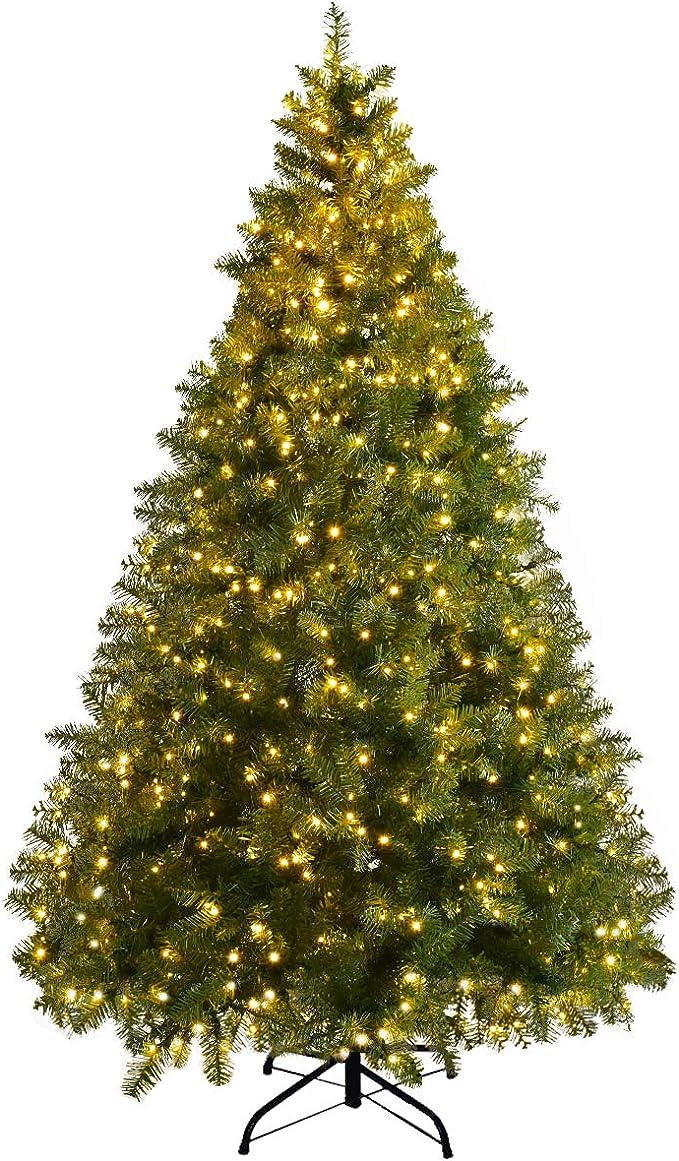 6Ft Pre-Lit Dense PVC Christmas Tree Spruce Hinged w//560 LED Lights /& Stand