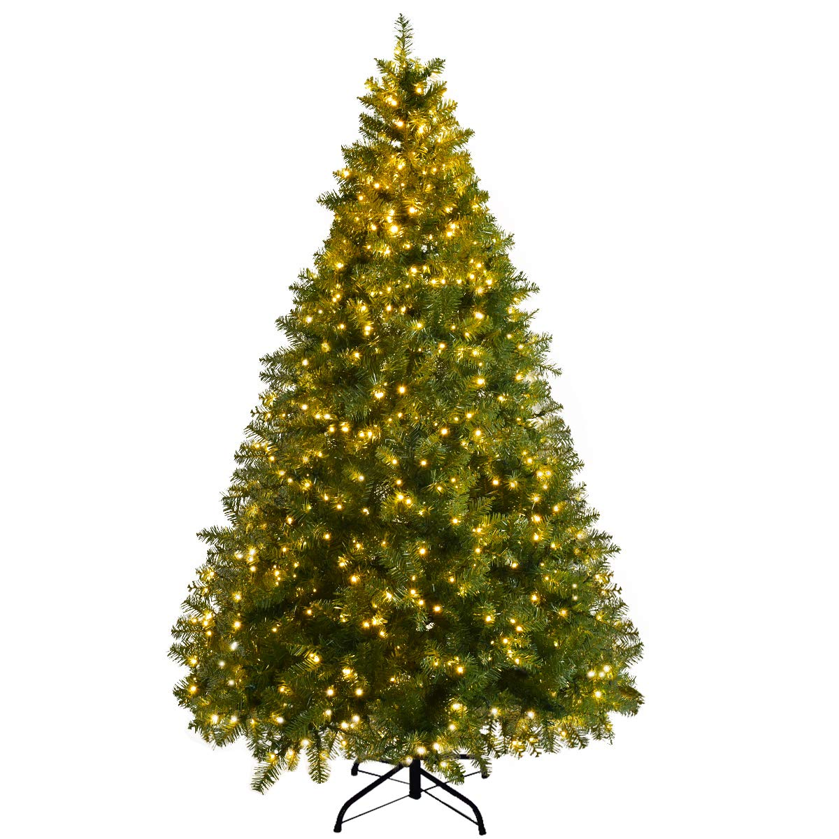 Goplus Pre Lit Christmas Tree Artificial Pvc Spruce Hinged With 560 Led Lights And Solid Metal Legs 6ft