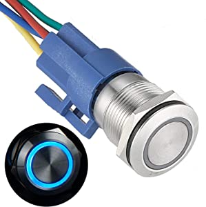 "APIELE [3 year warranty] 19mm Latching Push Button Switch 12V DC Angel Eye Halo Ring LED Metal 0.74"" 1NO1NC SPDT With Wire Socket Plug (BLUE)"