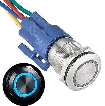 Azul boton interruptor momentaneo LED 1NO 4 pines para agujero de montaje de 12mm boton pulsador interruptor de 12mm
