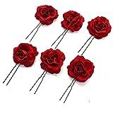 6 Pack Elegant Red Rose Bridal Hair Clips Hair Pins Wedding Women and Girls Hair Accessories Bridesmaids Headpiece - Hair Acc