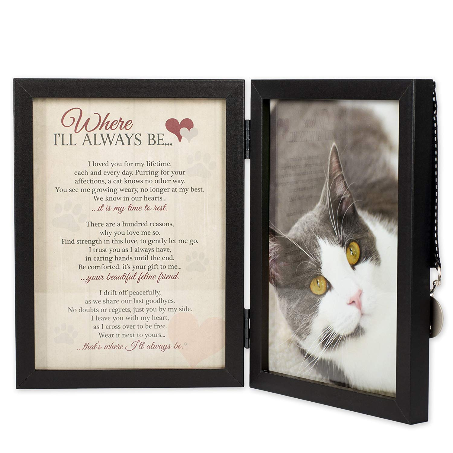 Where I'll Always Be Cat Memorial Photo Frame - Thoughtful Pet Memorial Gift (Frame with Pet Tag) by Pawprints Left by You Memorial Gifts