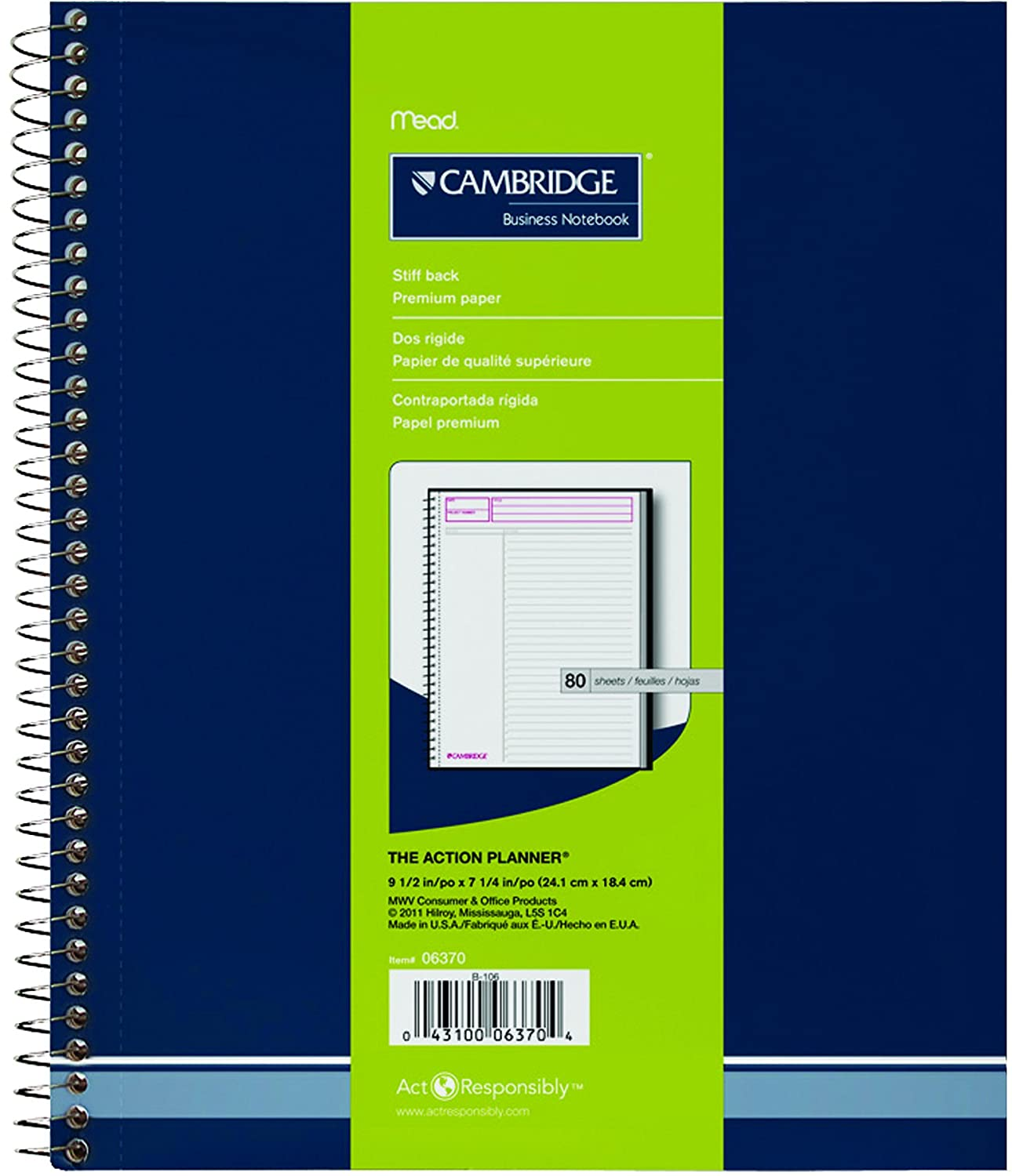Cambridge Action Planner Wirebound Notebook, 9-1/2 X 7-1/4 Inches, 80 Sheets (06370)