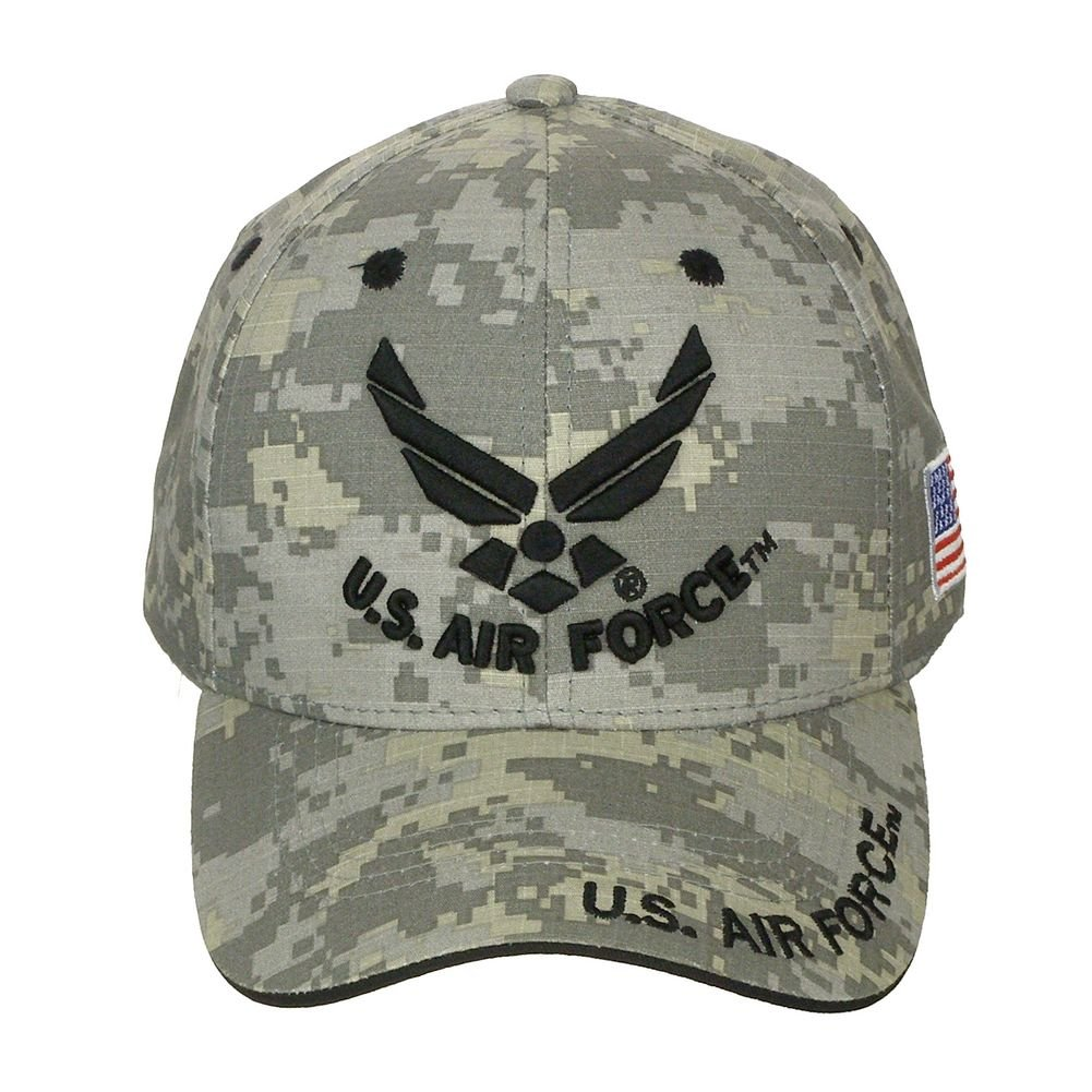 c3be506bdb6 Amazon.com  Official Licensed US Air Force with US Flag Adjustable Back  Cotton Cap Hat - Digital Camo  Clothing