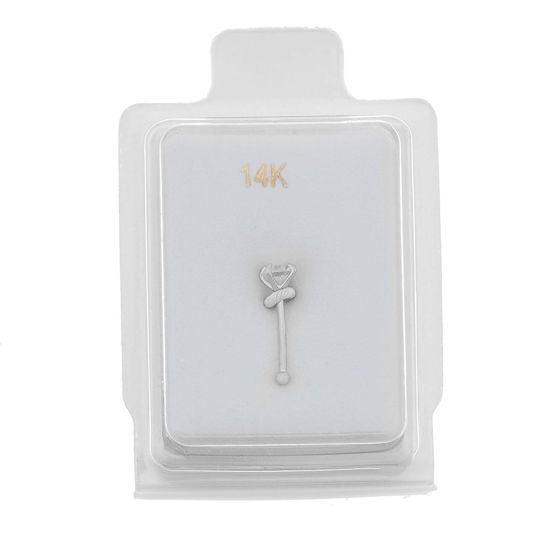 14K White Gold 2mm White Cubic Zirconium Nose Ring Straight Stud 22G Lavari