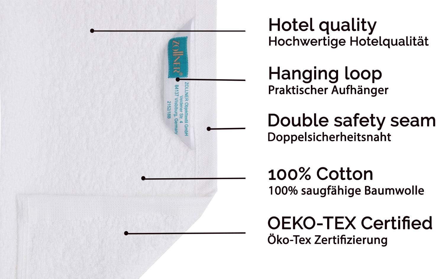 100/% cotton white ZOLLNER extra large bath towel set of 2 70x180 cm