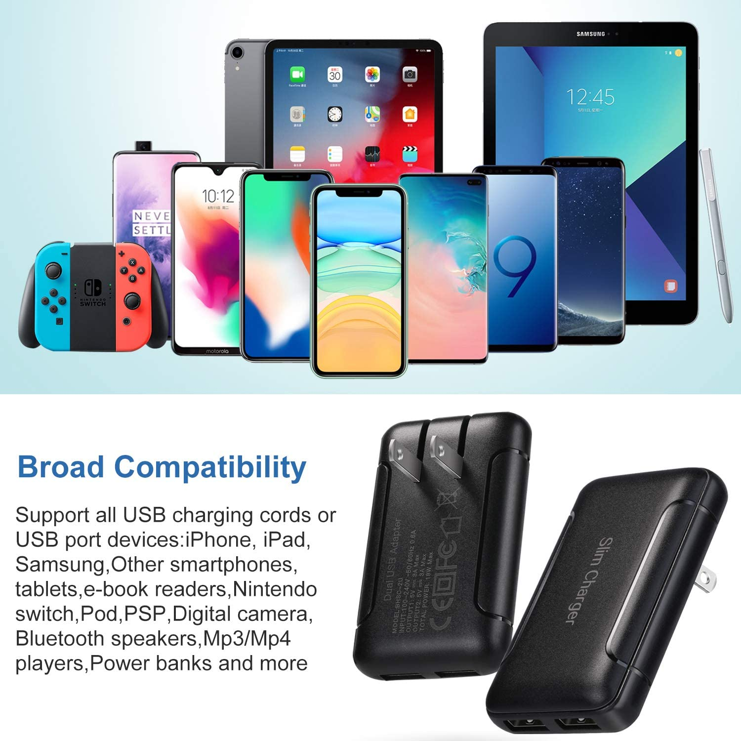 USB Wall Charger Nexus and More-Black Pofesun Dual Port USB Slim Charging Block Power Adapter with Foldable Plug Compatible for iPhone Xs//XS Max//XR//X//8 Plus//7//6S Plus,iPad,Samsung Galaxy,HTC,Moto,LG