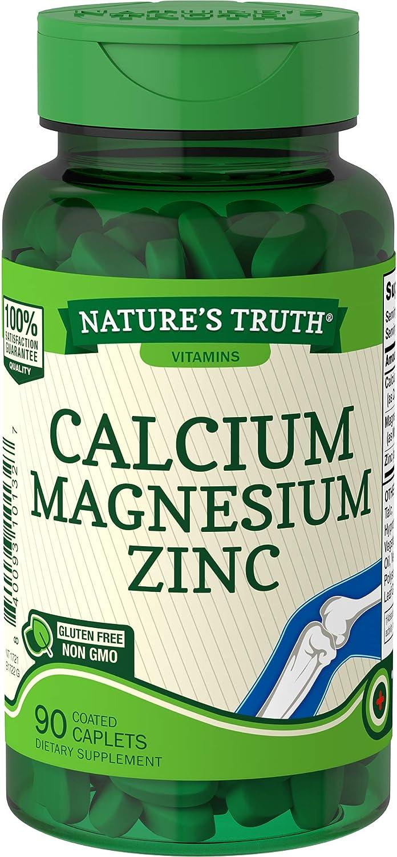 Calcium Magnesium Zinc Supplement   90 Caplets   Non-GMO, Gluten Free   by Nature's Truth