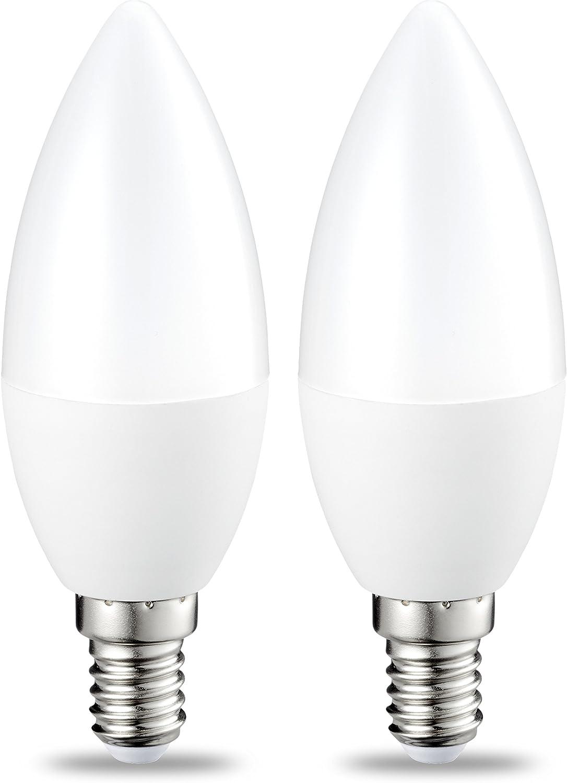 AmazonBasics Bombilla LED E14, 5.5W (equivalente a 40W), Blanco Cálido- 2 unidades