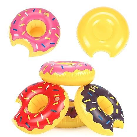 takestop Puerta Vaso Donut Hinchable Flotador de Playa Piscina rosquillas Colores para Vaso Lata Jarra