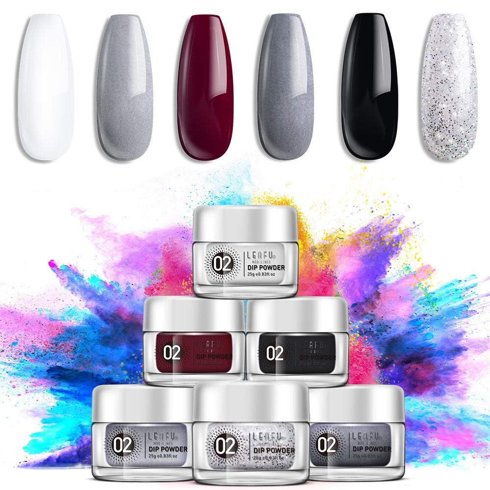 Dipping Powder Set for Nail Art 0.83oz, Dip Powder Starter Kit with 6 Dip Powder Colors for French Nail Manicure Nail Art Set Essential Kit by modelones