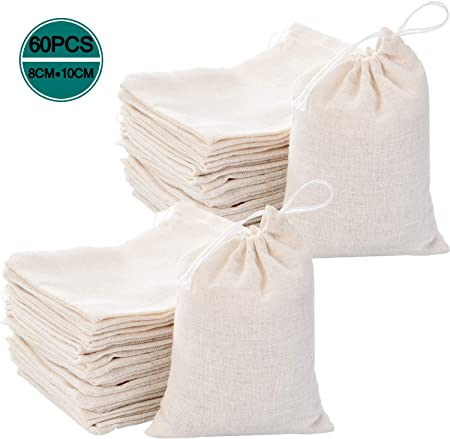 Bolsas de muselina de algodón Fnova, bolsa de almacenamiento de muselina reutilizable con cordones, bolsas de lona de bolsita, bolsas de tela biodegradable para especias de tienda 60 piezas: Amazon.es: Hogar