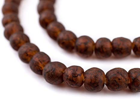 Dark Brown Recycled Glass Beads 11mm Ghana African Sea Glass Round Large Hole