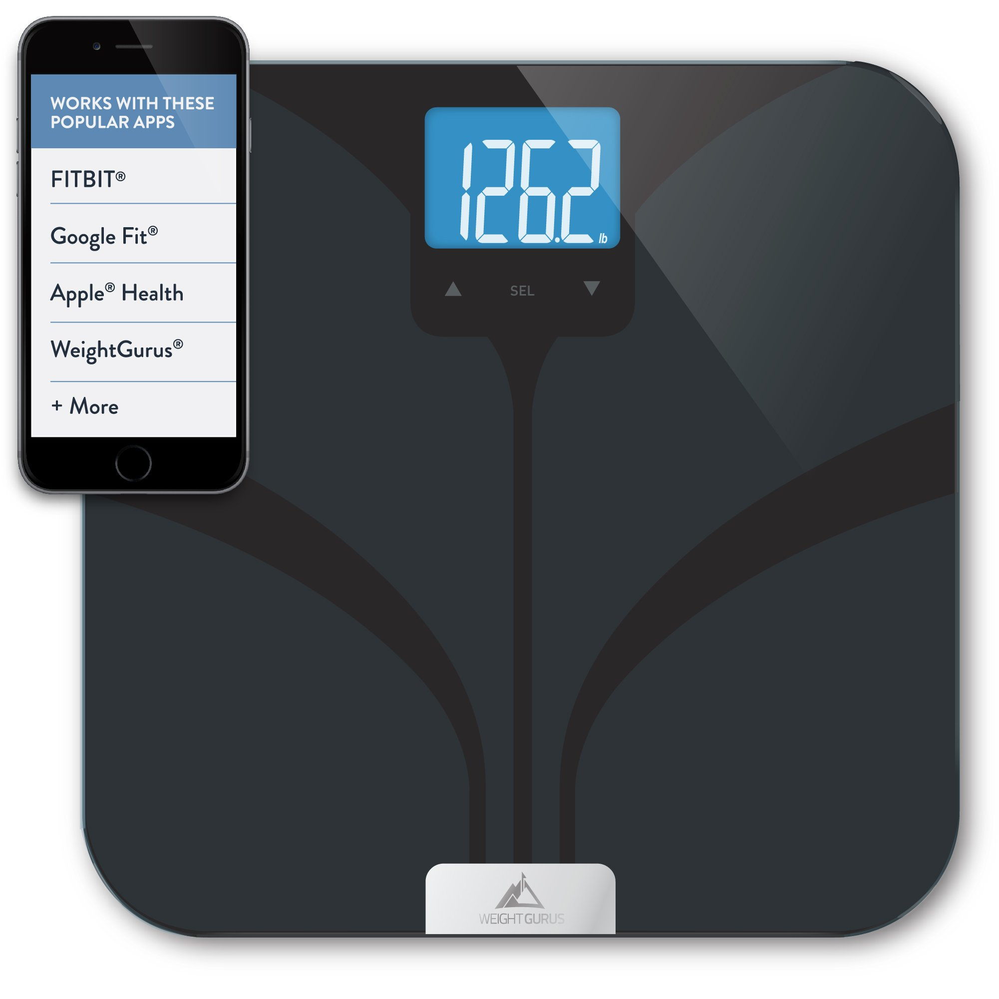 Bluetooth Smart Body Fat Scale by GreaterGoods (Certified Refurbished) Weight Gurus Line of Secure Connected Solution for your Data, including BMI, Body Fat, Muscle Mass, Water Weight, and Bone Mass