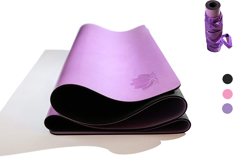 Acarya Premium Natural Rubber Yoga Mat Non-Slip Surface, Eco-Friendly Made Out of Natural Tree Rubber, Extra Long Bonus Yoga Mat Bag Included