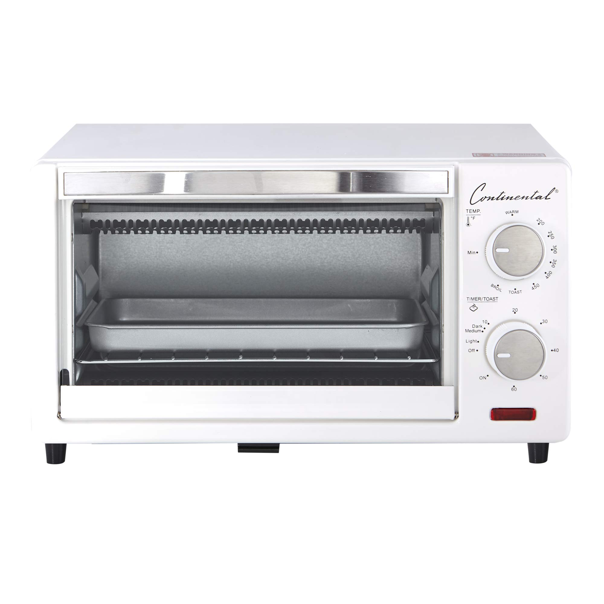 Continental Electric CE-TO101 Toaster Oven, 4-Slice, White by Continental Electric