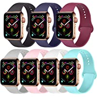 Amzpas Pack 7 Compatible with Apple Watch Band 38mm 40mm 42mm 44mm, Silicone Strap Sport Band Compatible with iWatch Series 5/4/3/2/1
