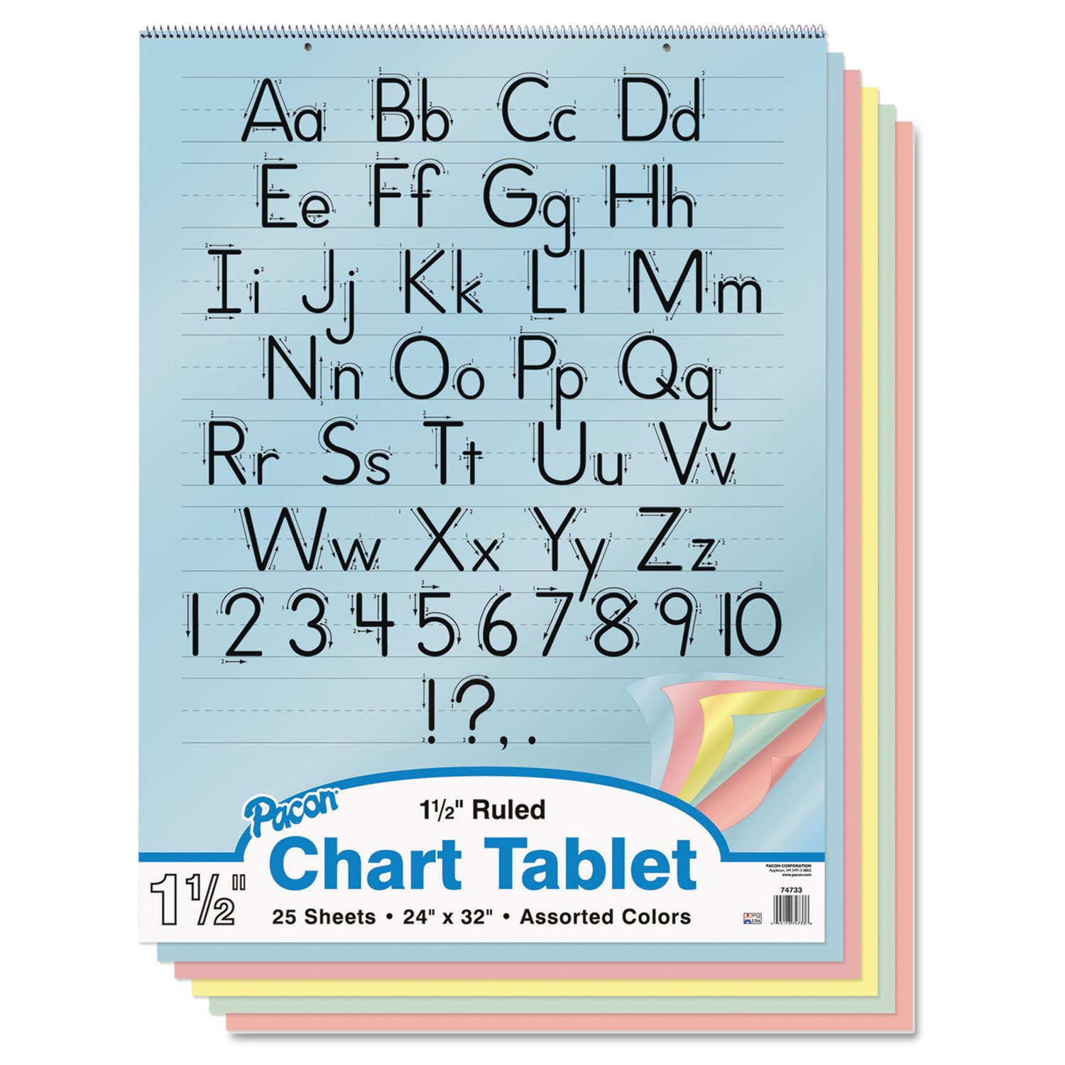 Amazon pacon 74733 colored chart tablet ruled spiralbound amazon pacon 74733 colored chart tablet ruled spiralbound 24 x 32 assorted colors chart paper office products nvjuhfo Image collections
