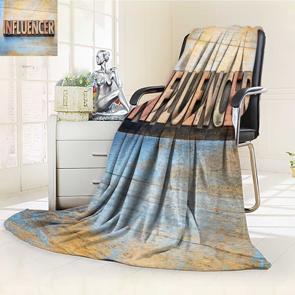 AmaPark Luminous Microfiber Throw Blanket Influencer Word Abstract in Vintage Letterpress Wood Type Printing Blocks Glow in The Dark Constellation Blanket, Soft and Durable Polyester(60''x 50'')