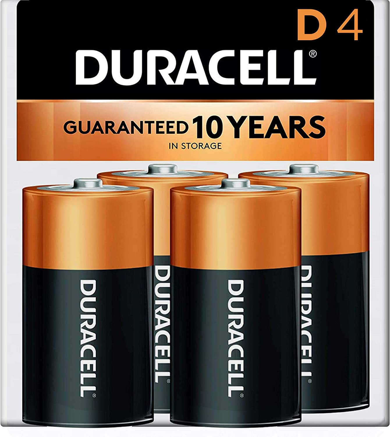 Duracell - CopperTop D Alkaline Batteries with recloseable package - long lasting, all-purpose D battery for household and business - 4 count: Electronics