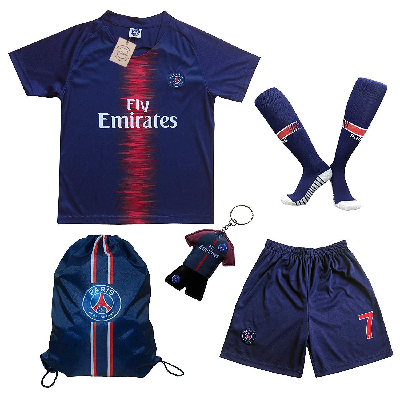 91fb731263c Amazon.com   LES TRICOT 2018 2019 Paris Home  7 MBAPPE Football Futbol  Soccer Kids Jersey Shorts Socks Set Youth Sizes   Sports   Outdoors