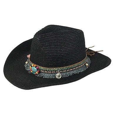 e071c315ec4d34 YueLian Cowboy Hat Straw Sunhat Wide Brim Western Cowgirl Beach Sun Cap for  Men and Women