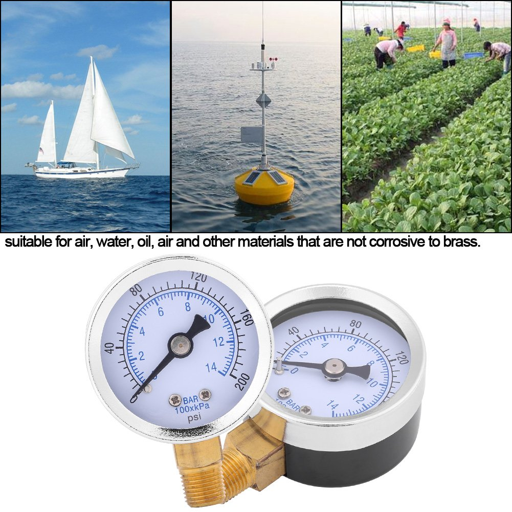 1//8NPT 42 mm medidor de presi/ón de rosca de medidor de cuadrante para combustible aire aceite l/íquido agua 0-200psi 0-14bar man/ómetro de presi/ón de agua hidr/áulico