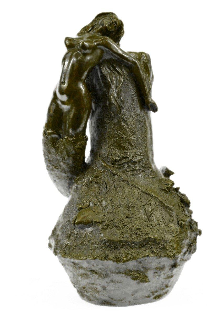 Vitaleh-EUxnch-2810C-インテリアグッズギフトの手作りブロンズ彫刻像の特別緑青ヌードマーメイド花瓶プランター置物 B074T2HSLX