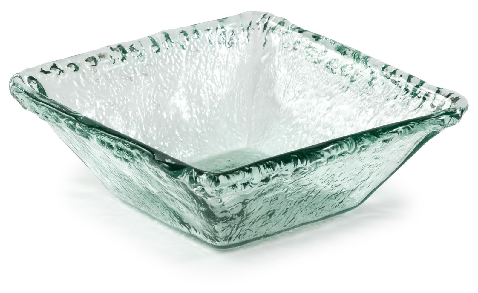 100% Recycled Glass Textured Medium Square - 8.5''Lx8.5''Wx3.25''H