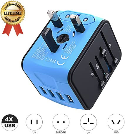 Universal 4 USB International Travel Wall Charger Adapter Power Converter Blue