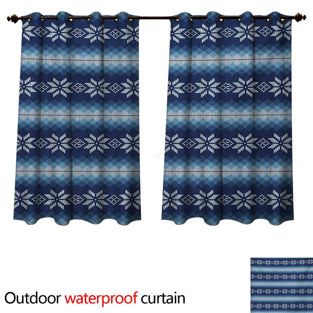 Winter Outdoor Curtain for Patio Traditional Scandinavian Needlework Inspired Pattern Jacquard Flakes Knitting Theme W72 x L63(183cm x 160cm)