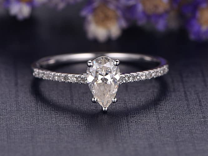 Amazon Com Moissanite Solitaire Engagement Ring 5x8mm Pear Shaped