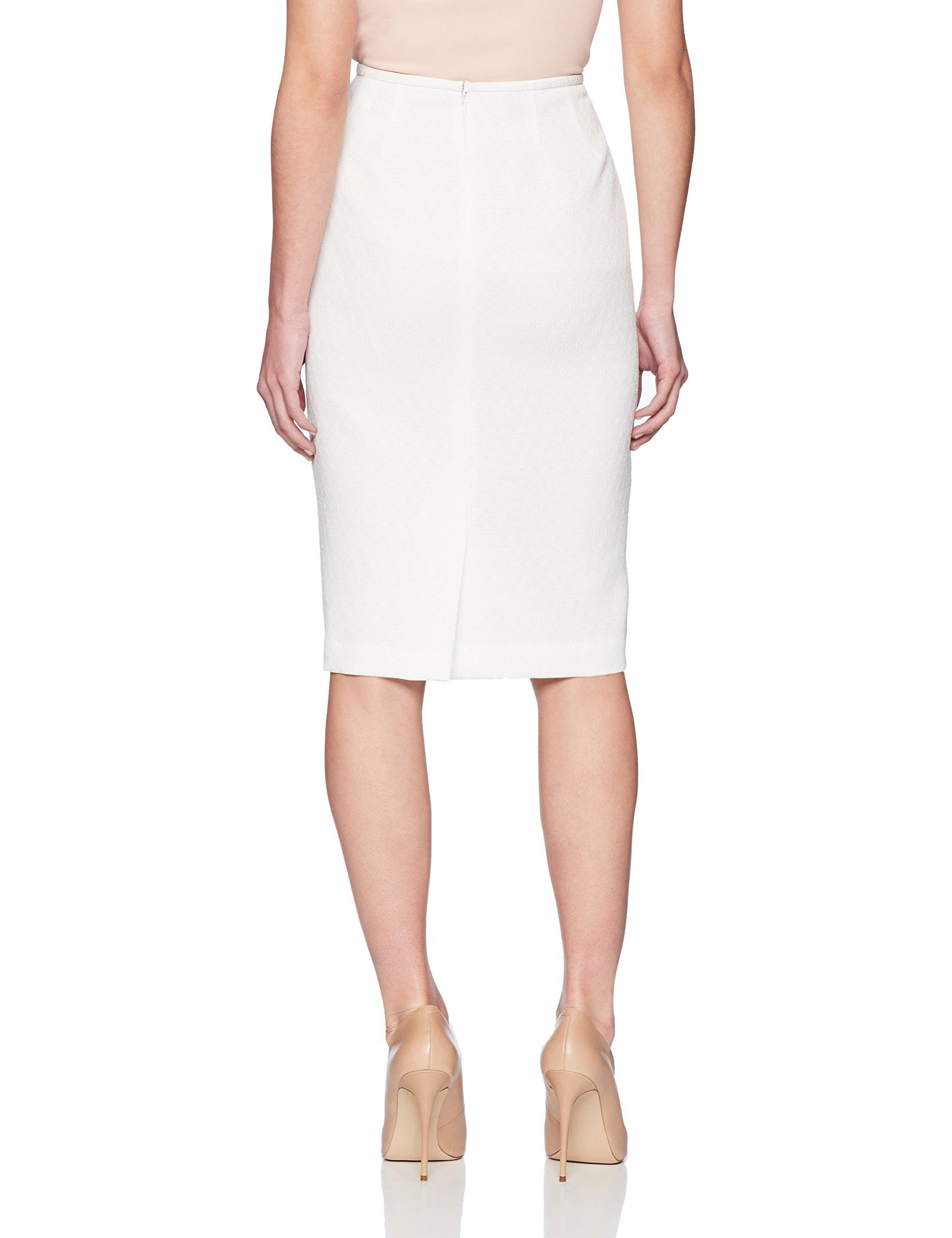 Le Suit Women's Petite Eyelet Jacquard 3 Bttn Petal Collar Suit, White, 12P by Le Suit (Image #4)