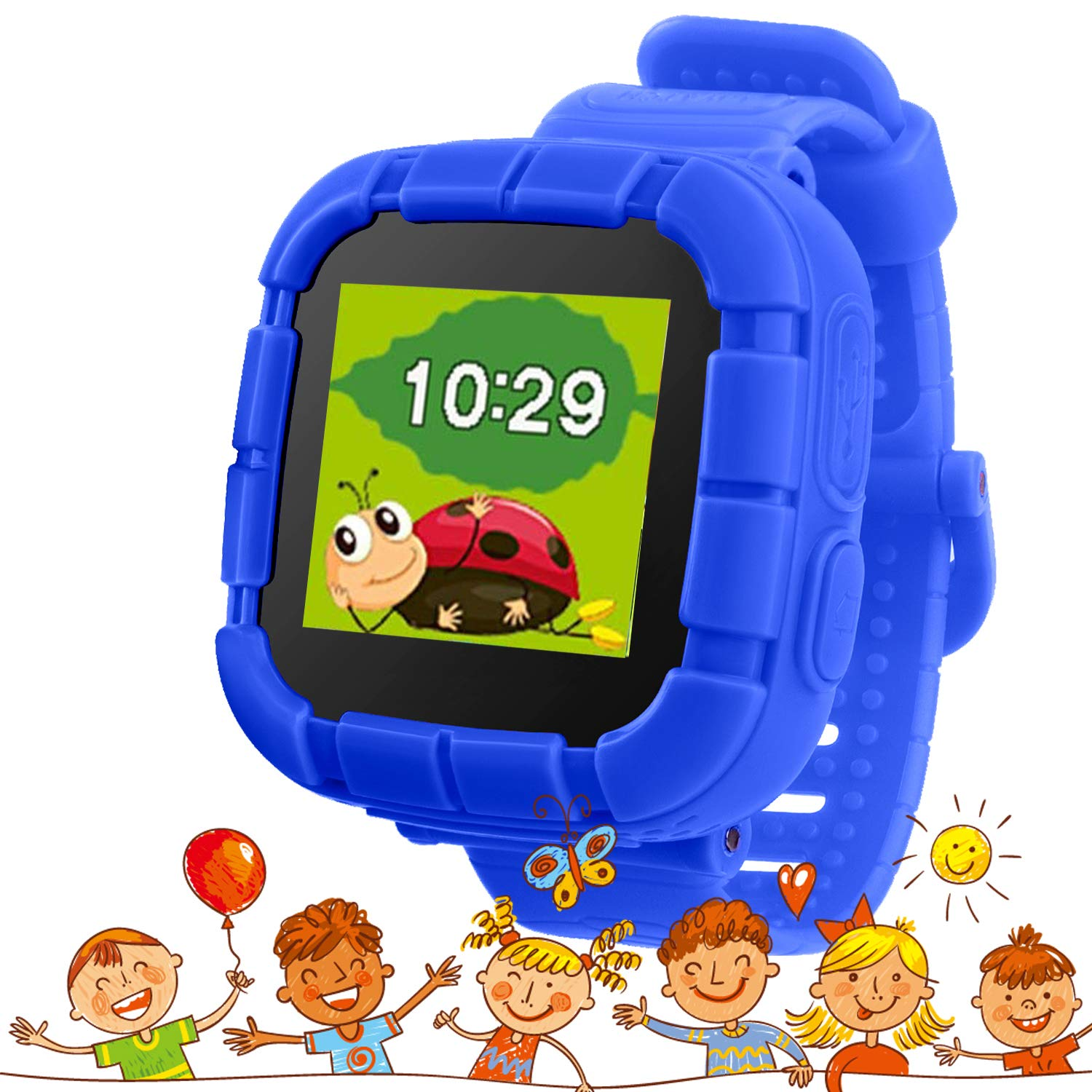 Kids Game Smart Watch with Picture Frame Camera Games Touch Screen Voice  Changer Funny Toys Watches Gifts for Girls Boys Learning Toys(OK530-Blue2)